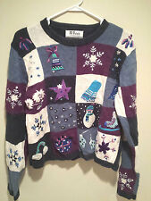 Vintage Tacky Ugly Christmas Sweater - Medium Purple Christmas Checkered Jumper