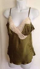 Womens bebe Olive Green Lace Camisole Top Blouse Adjustable Straps Size L NWT