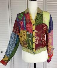 Sacred Threads M Top Rayon Patchwork Sheer Boho Floral Shirt Blouse