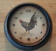 COUNTRY ROOSTER METAL WALL CLOCK RUSTIC FARMHOUSE KITCHEN DECOR