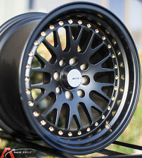 BLACK 15X8 +25 AVID.1 WHEEL AV-12 4X100 RIM SCION XB VW JETTA GOLF CIVIC SI FIT