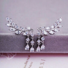 Fashion Women Gold Silver Crystal Zircon Leaves Tassel Ear Stud Earrings Jewelry