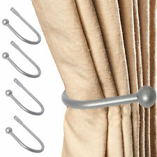 4 x LUXURY MODERN METAL BALL CURTAIN HOLD BACKS Large Tassel Tie Hook SILVER SET