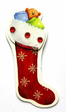 4 Self Adhesive Stick On 3D Christmas Teddy Stocking Embellishments Card Craft