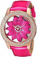Guess Womens Fashion Rose Gold Tone SS Case Pink Floral Patent Leather Watch NEW