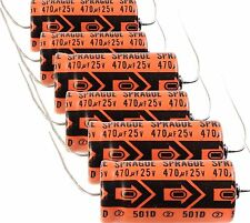 Sprague 501D 25V Capacitor (6) N8224 470uF Axial Mount Capacitors Electronics