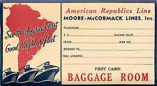 American Republics Line ~MOORE McCORMACK STEAMSHIP Line~ Old Deco Luggage Label