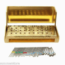 Disinfection Block High Speed Handpieces Holder + 30 X Dental Diamond Burs Drill