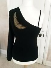 BNWT Peter Golding Long Sleeve Off / One Shoulder Black Top T-Shirt UK 12-14
