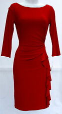 Ralph Lauren red cocktail special occasion red elegant dress sz 12P 3/4 sleeves