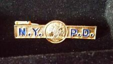 RARE New York PD TIE clasp clip bar GOLD police department pin
