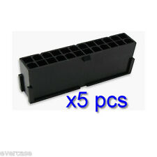PSU Modding, Negro 24 pines Macho ATX Conector Poder Enchufe 5 Piezas