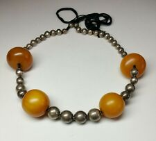J5683 Antique vintage Sterling Silver African Copal Amber Bead Necklace