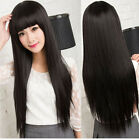 Women's Long Straight Full Hair Wig Neat Bang Cosplay Costume Party Black/Brown
