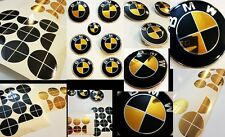 CHROME GOLD & GLOSS BLACK Complete Set Vinyl Sticker Overlay for All BMW Emblems