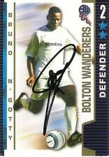 A Shoot Out card Bruno N'Gotty at  Bolton Wanderers. Personally signed by him.