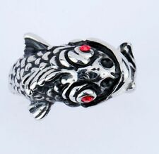 Big size  stainless steel sliver red eye fish head biker ring usize11