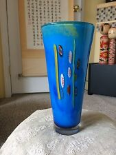 Vintage Murano ? Blue Multicolored Fluted Heavy Art Glass Vase