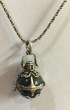 Vintage Sterling Silver Healing Necklace With Labradorite Sphere And Pink Topaz