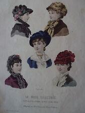 GRAVURE MODE ILLUSTRE 1881 CHAPEAUX DE MME VILLEDIEU N° 42