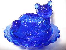 Cobalt blue glass salt cellar celt dip cat kitten on nest basket dish dark kitty