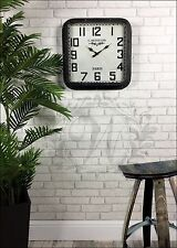 Black Studded Wall Clock French Vintage Industrial Distressed Metal Glass Square