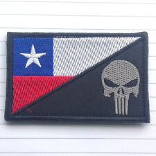 PUNISHER SKULL CHILE FLAG CHILE MILITARY TACTICAL 3D MORALE RED BLUE HOOK PATCH