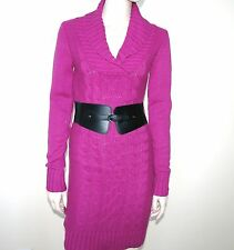 NEW GUESS WHITE+MAGENTA PURPLE PINK+BLACK PATRICIA COLLAR SWEATER DRESS+BELT