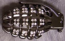 Military Belt Buckle metal Rhinestone Hand Grenade NEW