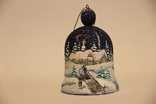 Russian Christmas Wooden Tree Ornament Hand Painted  jingle bell