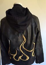 vintage wilsons leather Hooded Zip Flame Embroidered  jacket womens size M