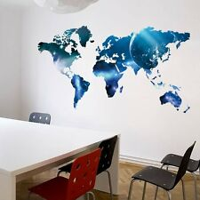Galaxy World Map Art Mural Removable Vinyl Quote Decal Home Decor Wall Stickers