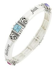 Bracelet Blessed Hope Believe Faith Religious Inspirational Pastel Stretch #17-E