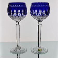 Waterford Cobalt Blue Cut to Clear Crystal Clarendon Wine Hocks Goblets Pair New