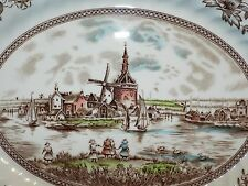 """12"""" PLATTER - TULIP TIME by JOHNSON BROS. - MADE IN ENG. - WINDMILL VILLAGE"""