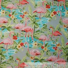 BonEful Fabric FQ Decor Outdoor Upholstery Blue Beach Water Pink Flamingo Scenic