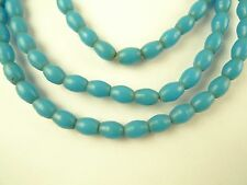 "28"" strand matched turquoise prosser pressed glass rice African trade beads old"