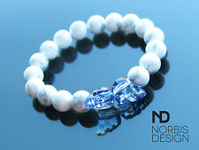Men's White Howlite Double Skull Bracelet with Swarovski Crystal 7'' Elasticated