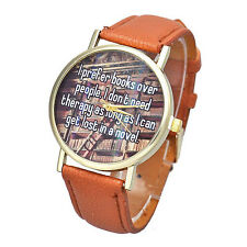 Quote Leather Watch I Prefer Books Over Quartz Analog Casual Wrist Watches Brown