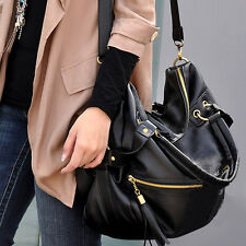 Korean Big Capacity Black Women's Shoulder/Hand PU Leather Bag Hobo vintage