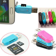 2*USB 2.0+Micro USB OTG SD T-Flash Memory Card Reader Adapter for Smart Phone PC