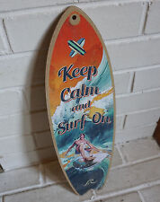 KEEP CALM AND SURF ON SURFBOARD SIGN Rustic Tropical Beach Surfer Home Decor NEW