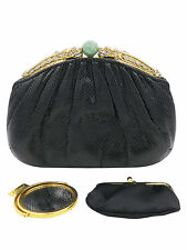 Judith Leiber Black Lizard  with Jade Dragons Evening Bag  Clutch Handbag
