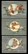 1880's MOON LOVE 3 EASTMAN'S DAPHNE ODORA PERFUME TRADE CARDS, FREE SHIP, TTC130
