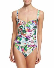 La Blanca Calypso Island Goddess Floral Print One Piece Swimsuit 14 NEW NWT $119