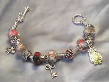 European Style Multicolor Murano Glass Bead Lady Bug Charm Bracelet No. 2