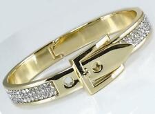 Italian Gold Buckle Crystal Bangle Bracelet Classic Hinged Designer