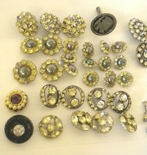 Lot of 40+ Vintage RHINESTONE Buttons - 1920's - 1930's + Sterling Cufflink