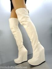 MORI ITALY WEDGES OVERKNEE HIGH HEEL BOOTS STIEFEL STIVALI LEATHER BEIGE NUDE 42
