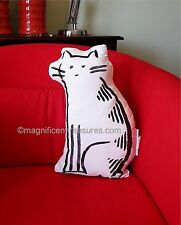 MINIMALIST ART BLACK WHITE EMBROIDERY CAT SHAPED ACCENT THROW PILLOW COTTON